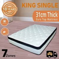Spring King Single Mattress Memory Foam Pillow Top