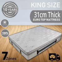 Luxury Pocket Spring King Mattress Latex Pillow Top