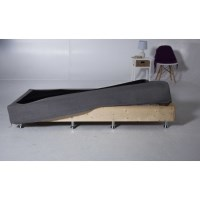 Queen Solid Pine Bed Base w/ Fabric Cover in Grey