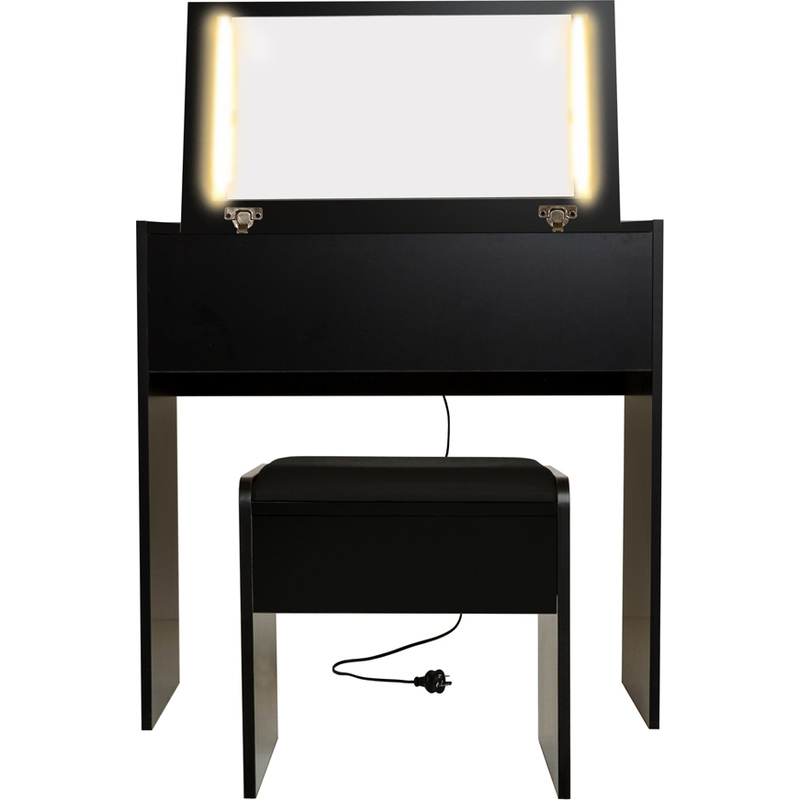 emma dressing table w led lights stool in black buy. Black Bedroom Furniture Sets. Home Design Ideas