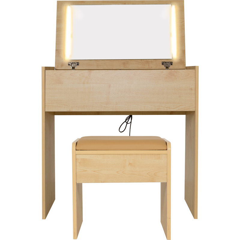 Emma dressing table w led lights stool in maple buy for Dressing table with lights