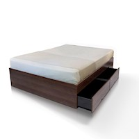 Modern Walnut Queen Bed Base with 4 Large Drawers