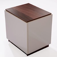 Scarlett Gloss Bedside Table White w/ Walnut Top