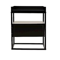 Robert Industrial Bedside Table w/ Drawer in Black