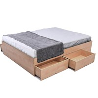 Queen Size Bed Base with Storage Drawers in Maple