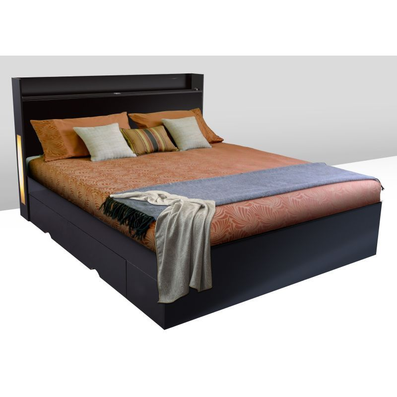 black bed frame with drawers king bed frame with 4 drawers amp leds in black buy 18342