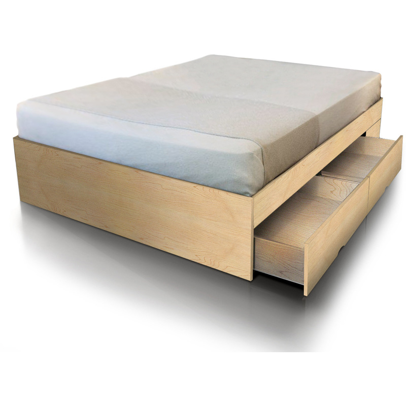 Queen size bed base with storage drawers in maple buy queen size bed base - Queen size under bed storage drawers ...
