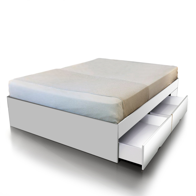 Queen Size Bed Base With Storage Drawers In White Buy