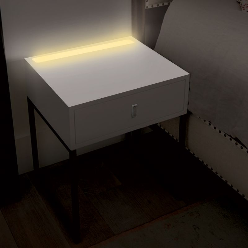 Illuminate Bedside Table With LED Light In White