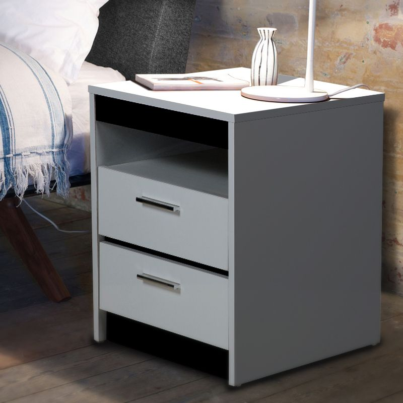 Monica bedside table with 2 drawers in glossy white buy for Buy white bedside table