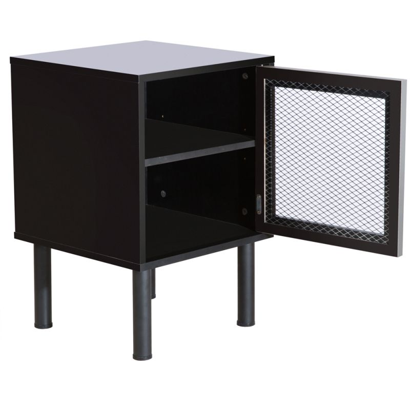 Melamine steel mesh 2 shelf bedside table in black buy for Bedside table shelf