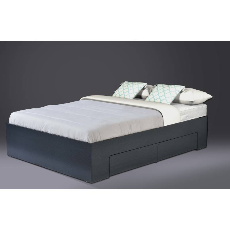 queen size platform bed base w side storage black buy queen bed frame. Black Bedroom Furniture Sets. Home Design Ideas