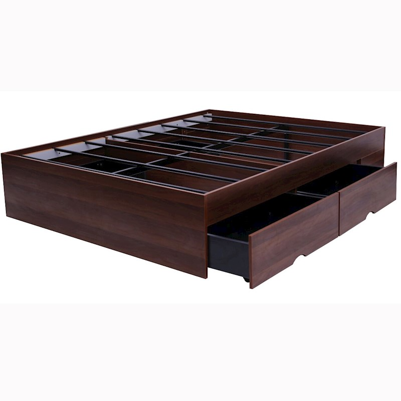 Bozz 4 drawers storage platform bed walnut buy queen - Modern queen bed with storage ...