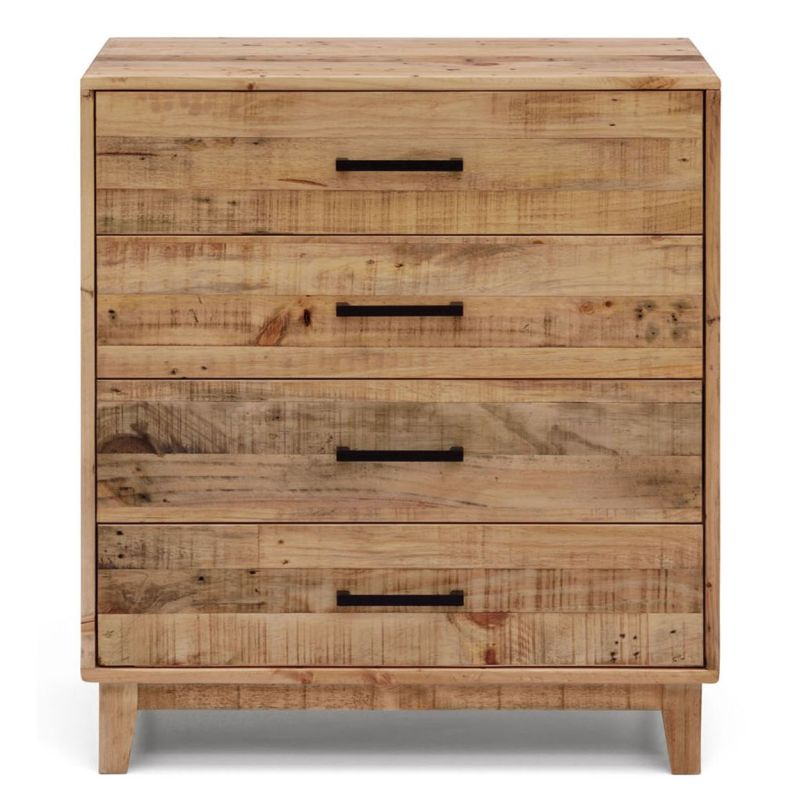 Portland recycled timber chest of 4 drawers tallboy buy for Reclaimed wood furniture portland