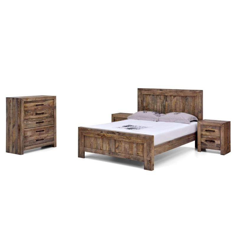 Boston Queen Rustic Pine Recycled Timber Bed Frame | Buy Queen Bed ...