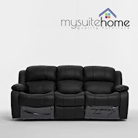 Kacey Recliner Couch Lounge Suite Black PU Leather