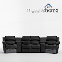 4 Seat Home Theatre Leather Recliner Lounge, Black