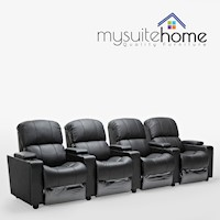 Sophie 4 Seater Black Leather Lounge Theatre Suite