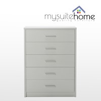 Venus White Tallboy Dresser Chest of 5 Drawers