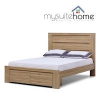 Jamel Walnut Queen Size Bed Frame with Drawers