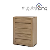 Jamel Walnut Veneer Tallboy with 5 Storage Drawers