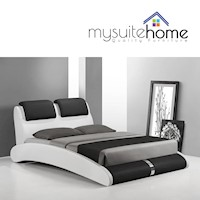 Marco Modern PU Leather Queen Bed Frame Black White