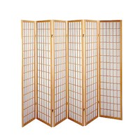 Wooden Natural 6 Panel Screen Room Divider