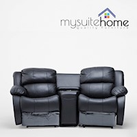 Black Genuine Leather Sofa 2 Seater Recliner Lounge