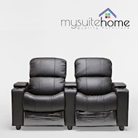 Sophie Black Leather Sofa 2 Seater Recliner Lounge