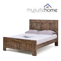 Boston Queen Rustic Pine Recycled Timber Bed Frame