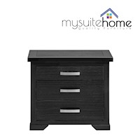 Carolyn Pine Timber 3 Drawer Bedside Table in Black