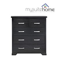 Carolyn Pine Timber 5 Drawer Tallboy Dresser Black
