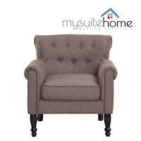 Jane French Provincial Fabric Armchair Brown Grey
