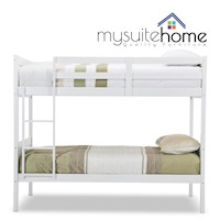 Jessie Single on Single Size Timber Bunk Bed White