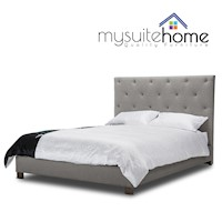 Rosie Queen Fabric Upholstered Bed Frame in Beige
