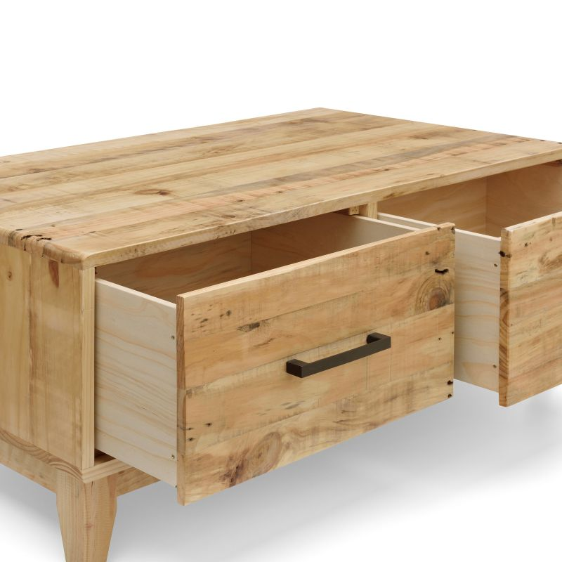 Portland Recycled Pine Coffee Table With 2 Drawers