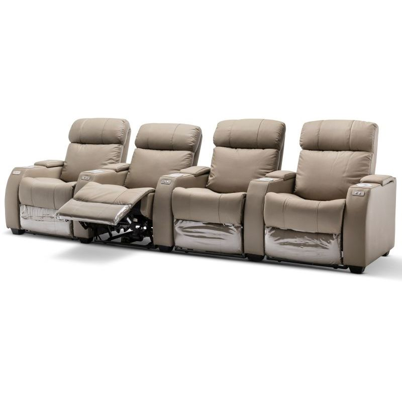 Anna Electric 4 Seat Recliner Leather Couch Beige