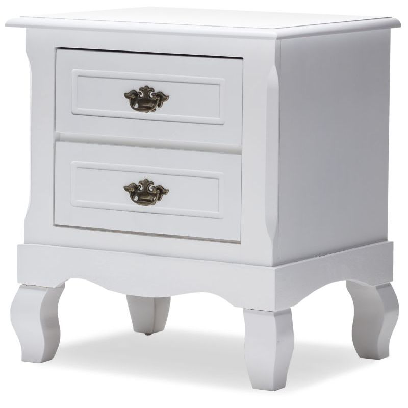 Roman bedside table night stand white w 2 drawers buy for Buy white bedside table