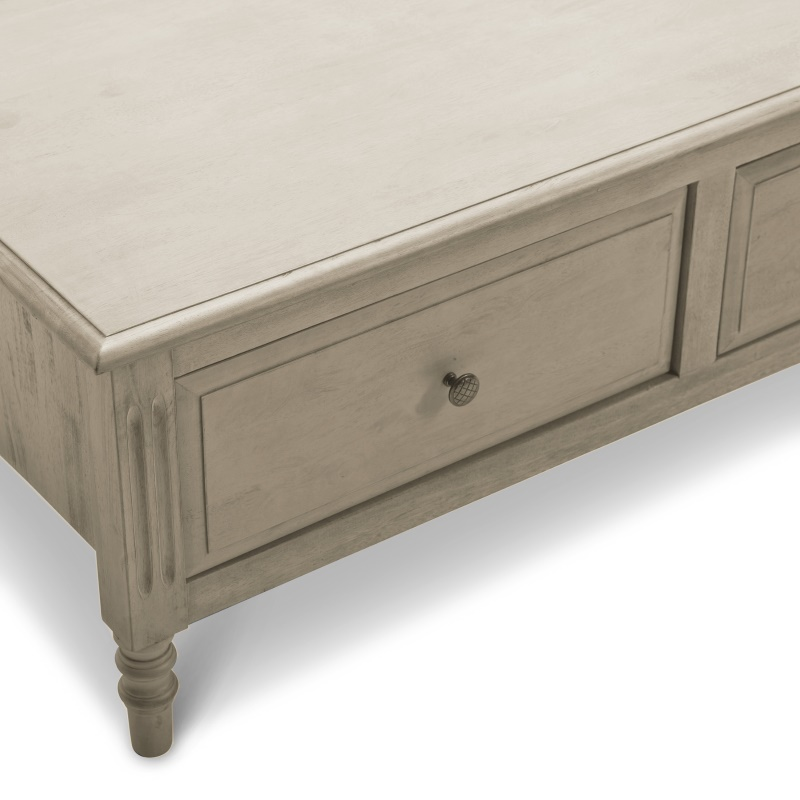 Grey Solid Wood Coffee Table: Lydia Coffee Table With 2 Drawers In Grey Wood