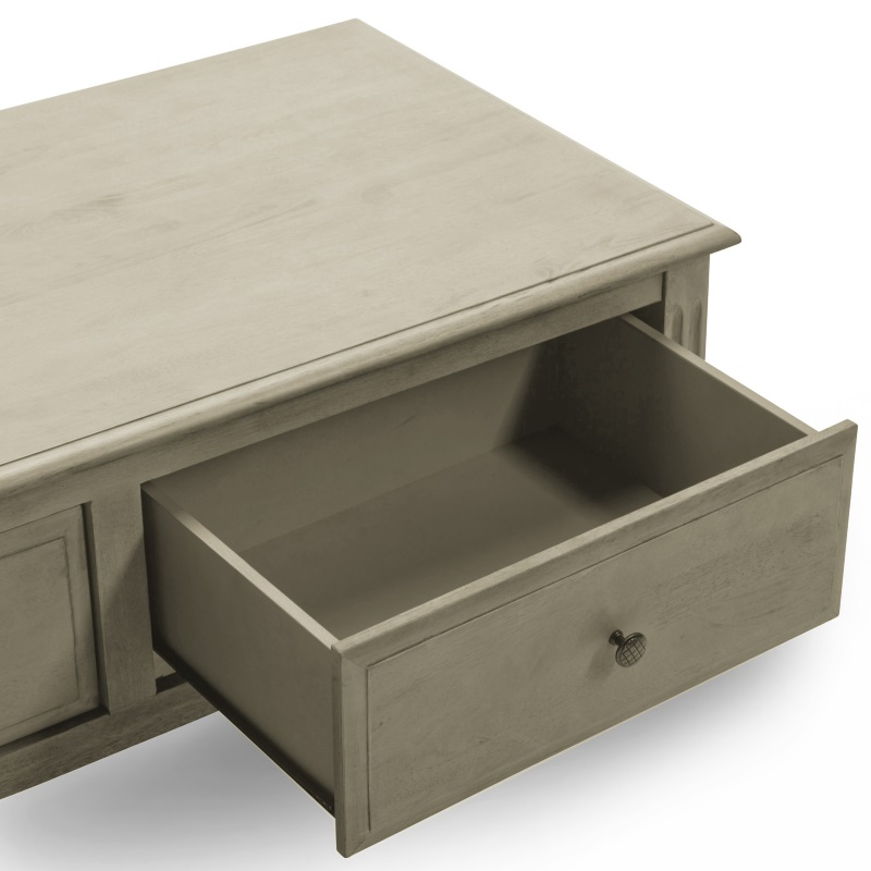 Lydia Coffee Table With 2 Drawers In Grey Wood