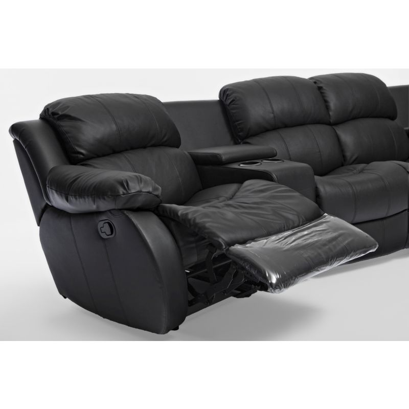 4 Seat Home Theatre Leather Recliner Lounge Black Buy