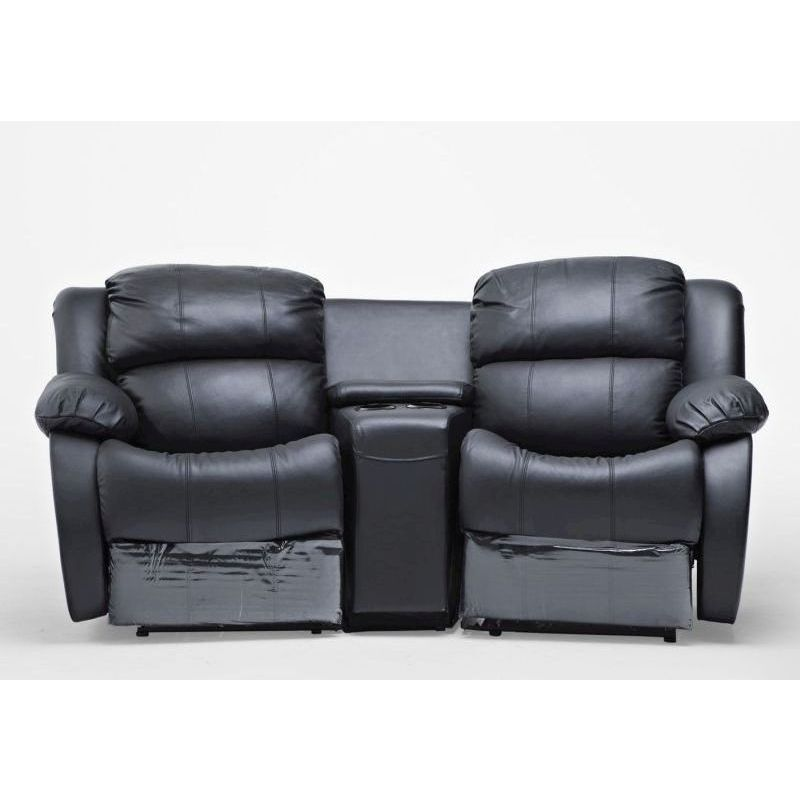 2 Seat Leather Recliner Lounge Sofa W Cup Holders Buy