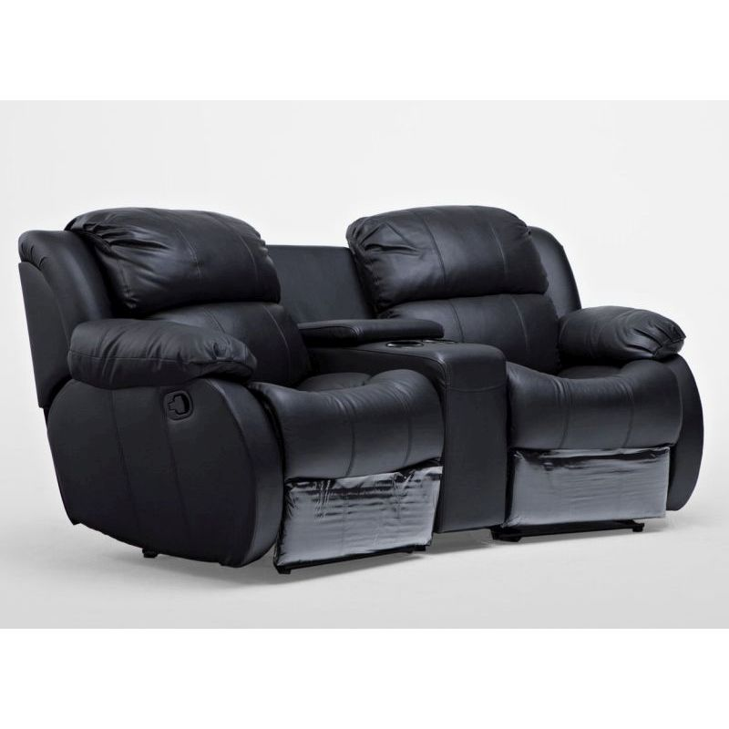 2 Seat Leather Recliner Lounge Sofa W/ Cup Holders
