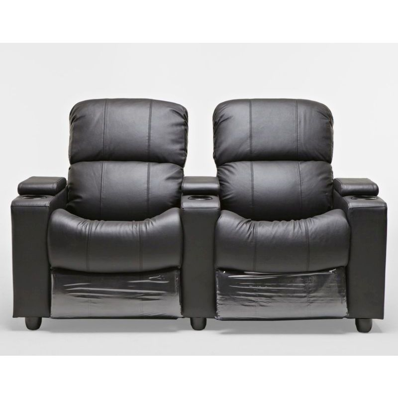 Black Leather Sofa With Recliner: Sophie Black Leather Sofa 2 Seater Recliner Lounge