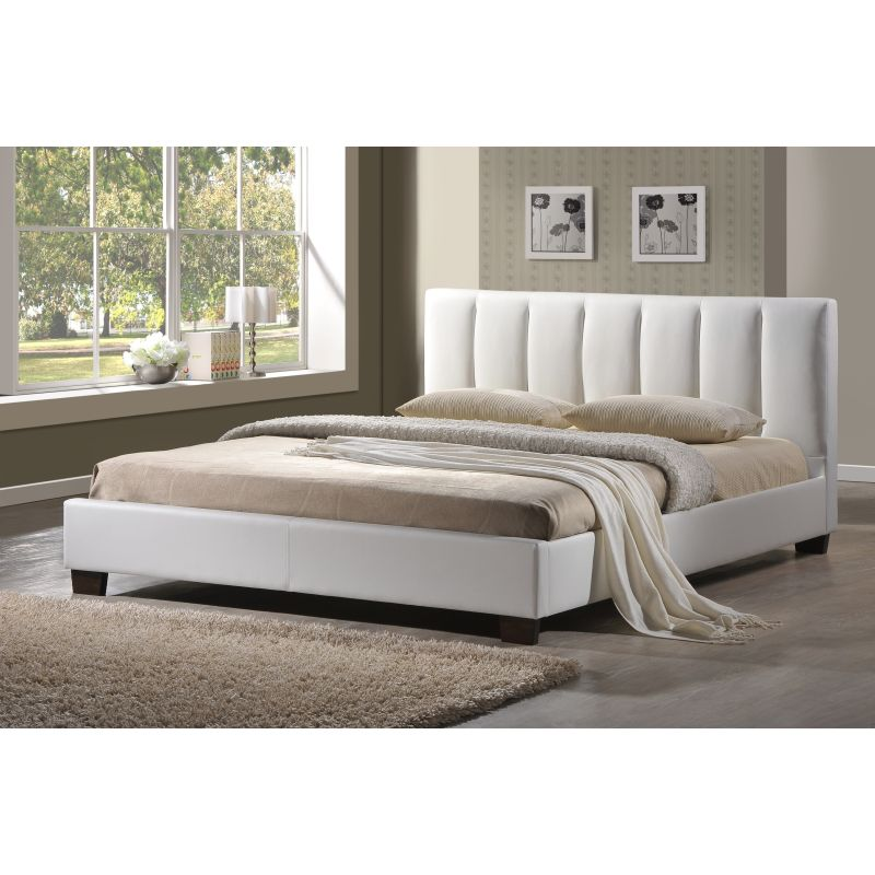 Paris Double Bed Frame Base In White PU Leather. H M S Remaining