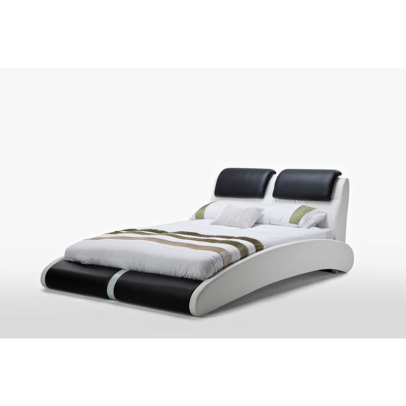 Marco Double PU Leather Bed Frame in Black & White | Buy Double Bed ...
