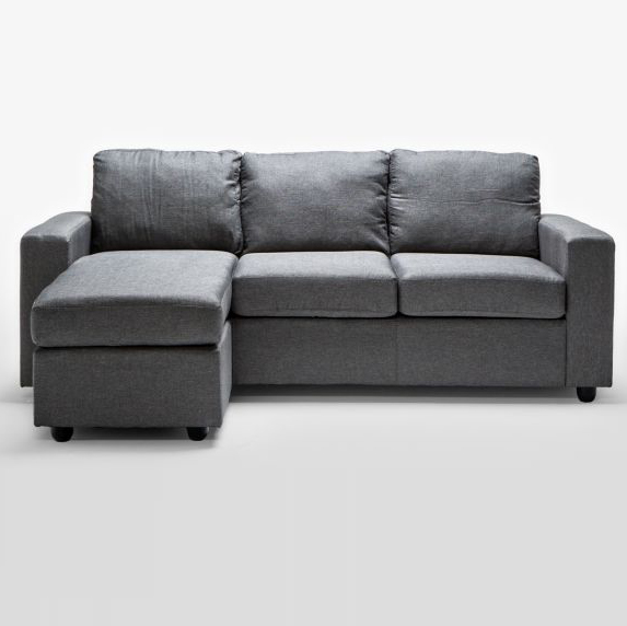 Ella 3 seater sofa couch with chaise lounge in grey buy for 3 seater chaise sofa bed