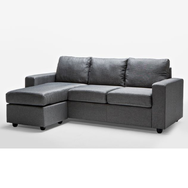 Ella 3 Seater Sofa Couch With Chaise Lounge In Grey Buy