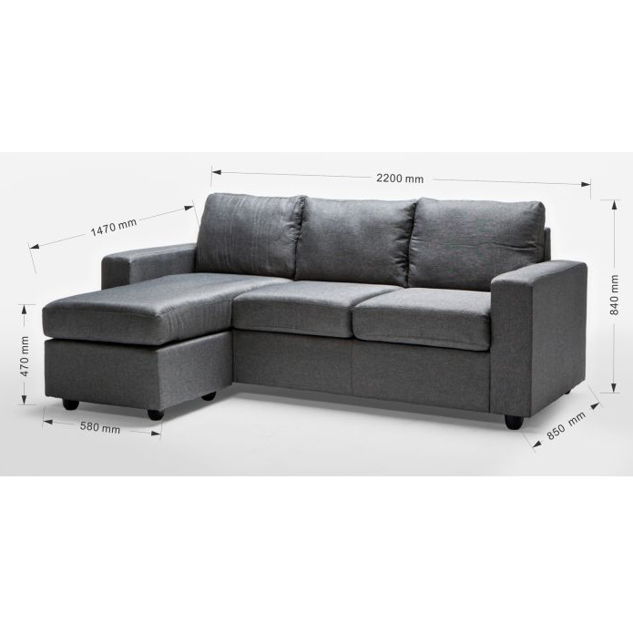 Ella 3 seater sofa couch with chaise lounge in grey buy for 2 5 seater sofa with chaise