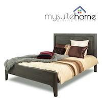 Nash Solid Acacia Timber Queen Size Bed Frame Matte Grey